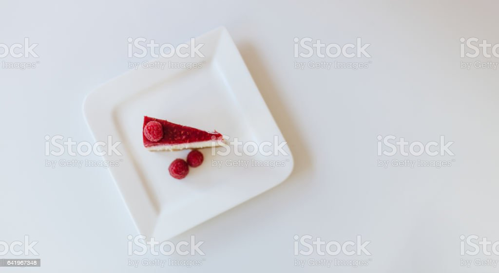 Raspberry Cheese Cake  on white background stock photo