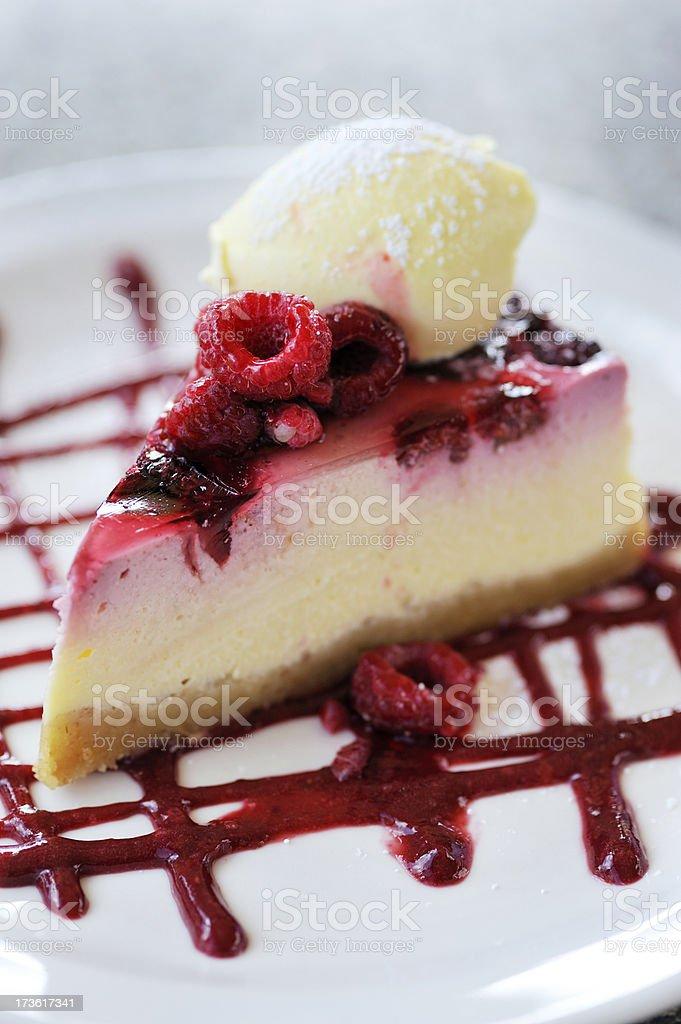 Raspberry cheese cake royalty-free stock photo