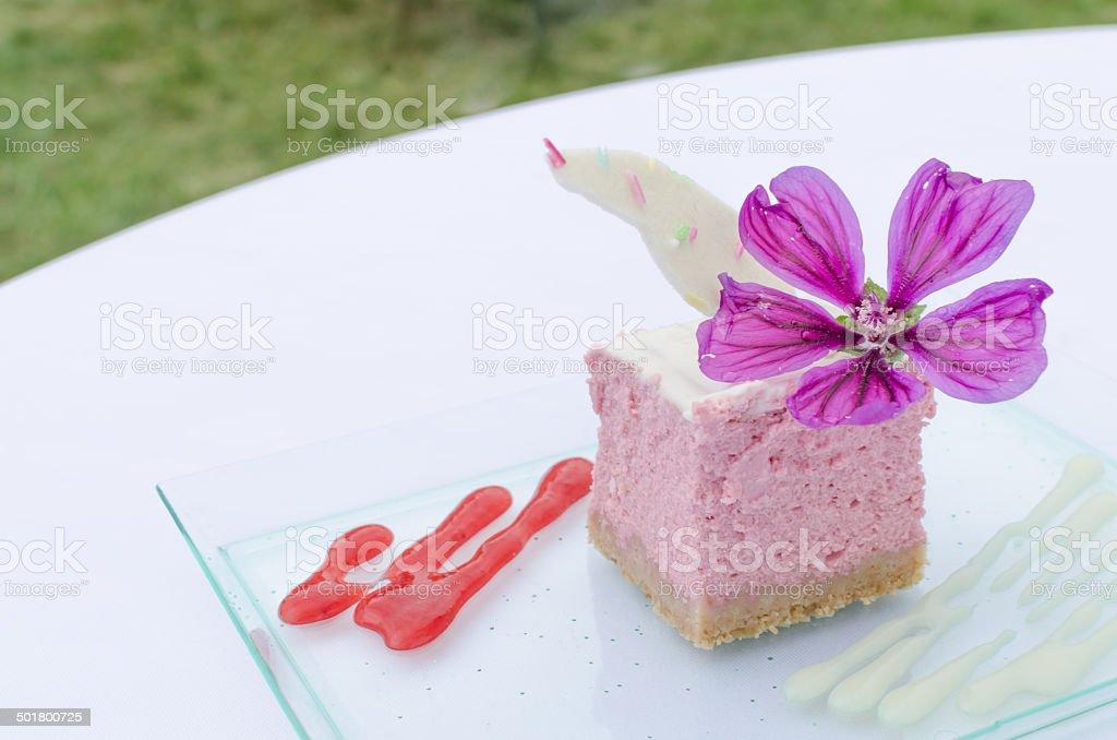 Raspberry cheesecake, biscuits stock photo