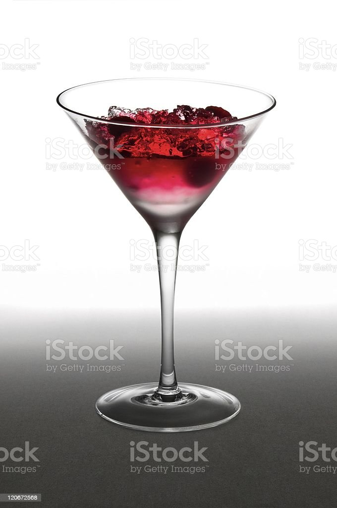 Raspberry cocktail in a martini glass stock photo
