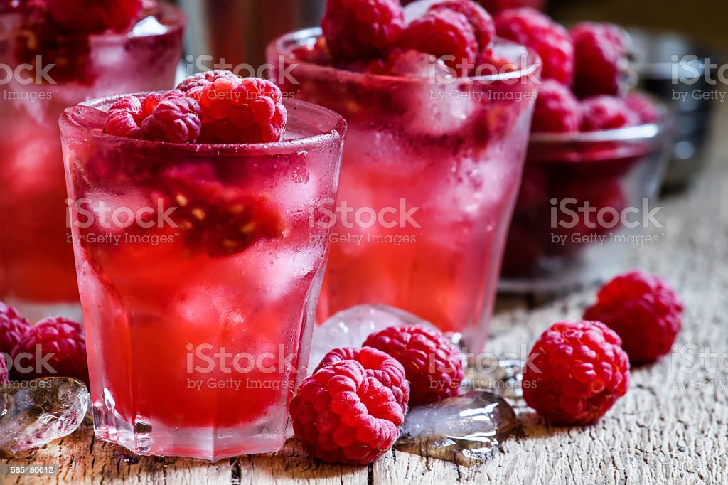 Raspberry cold alcoholic cocktail stock photo