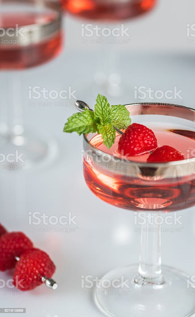 Raspberry Cordials in Coupes for the Holidays stock photo