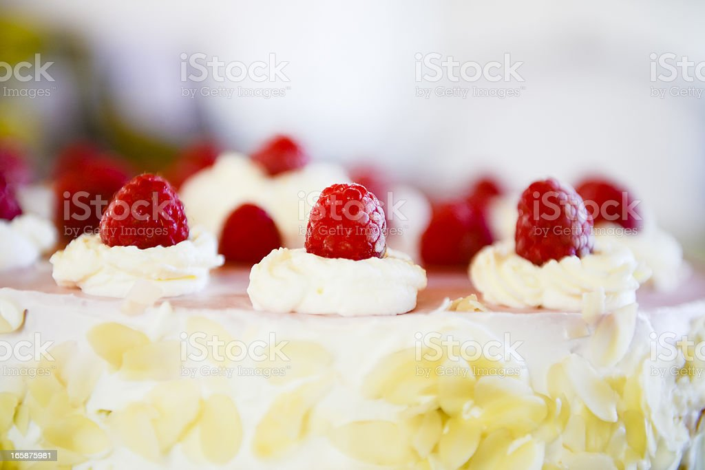 Raspberry cream cake close-up rich decorated full frame royalty-free stock photo