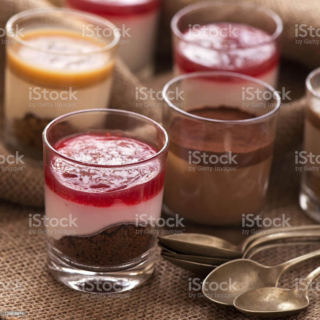 Raspberry Creme - Chocolate and Caramel  Parfaits royalty-free stock photo
