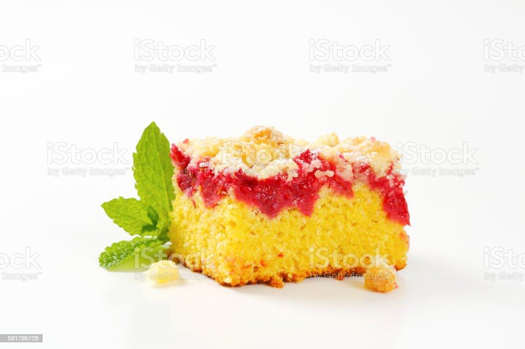 Raspberry crumb cake stock photo