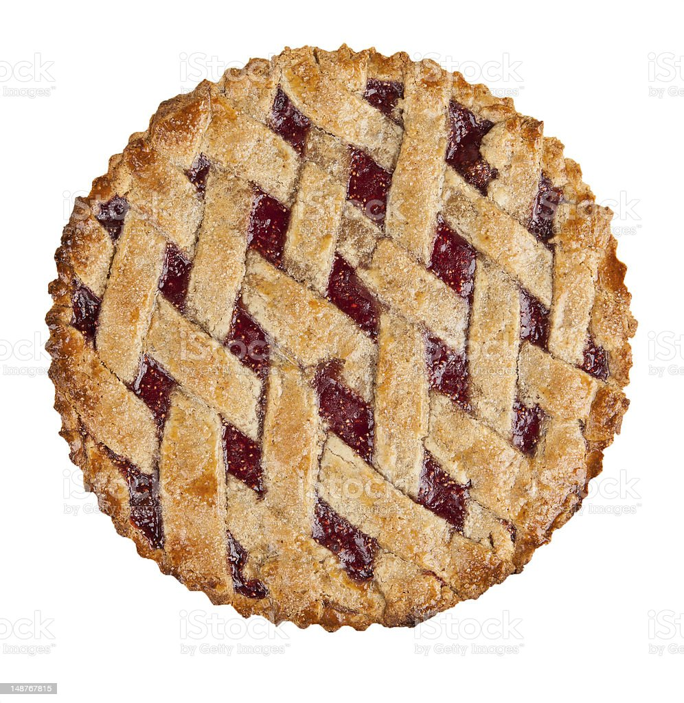 raspberry crust pie isolated on white stock photo