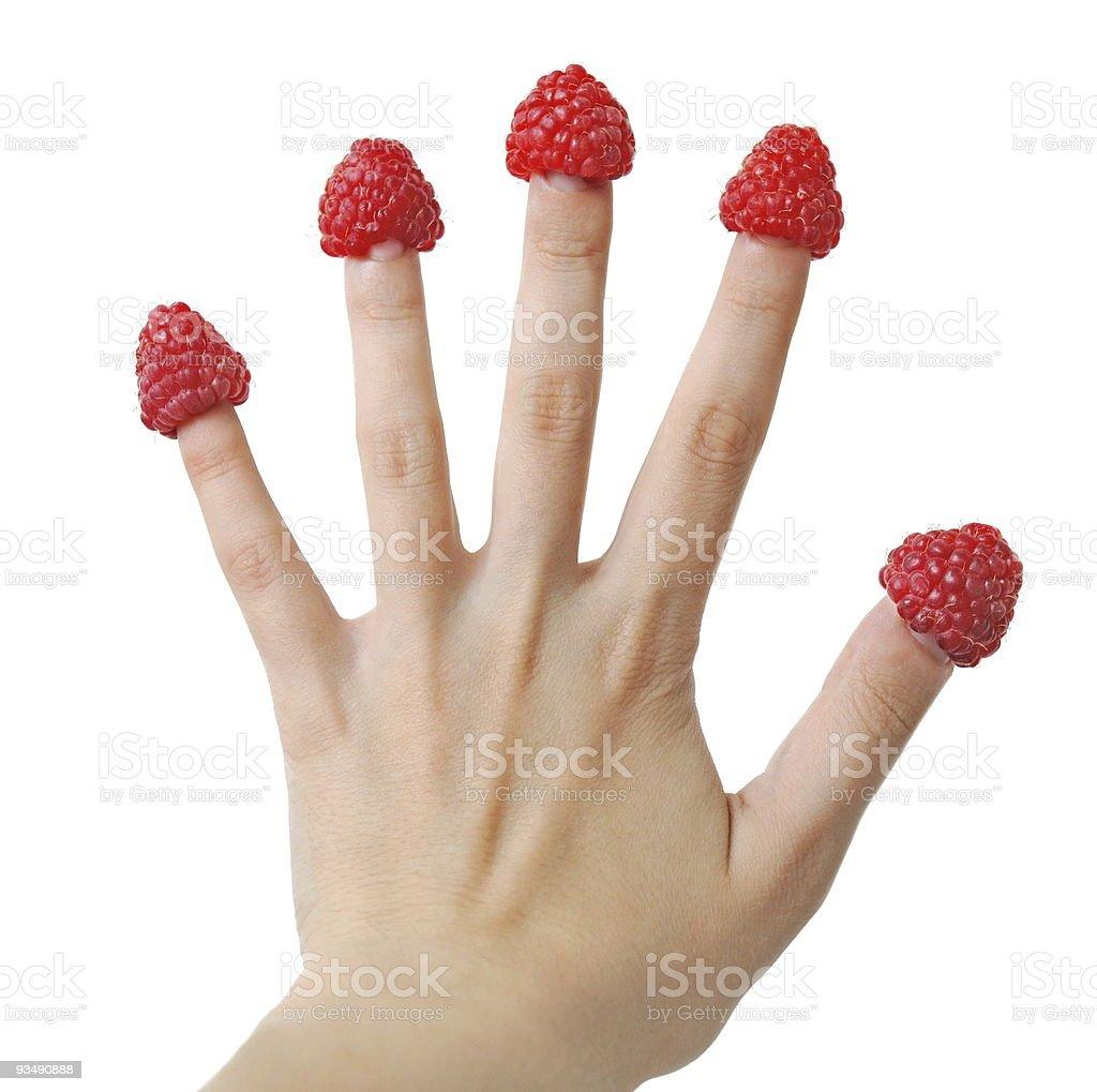 Raspberry fingers royalty-free stock photo