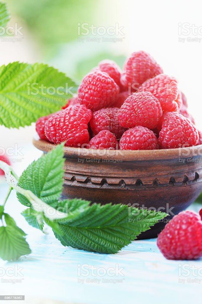 raspberry, in ceramic bowl stock photo