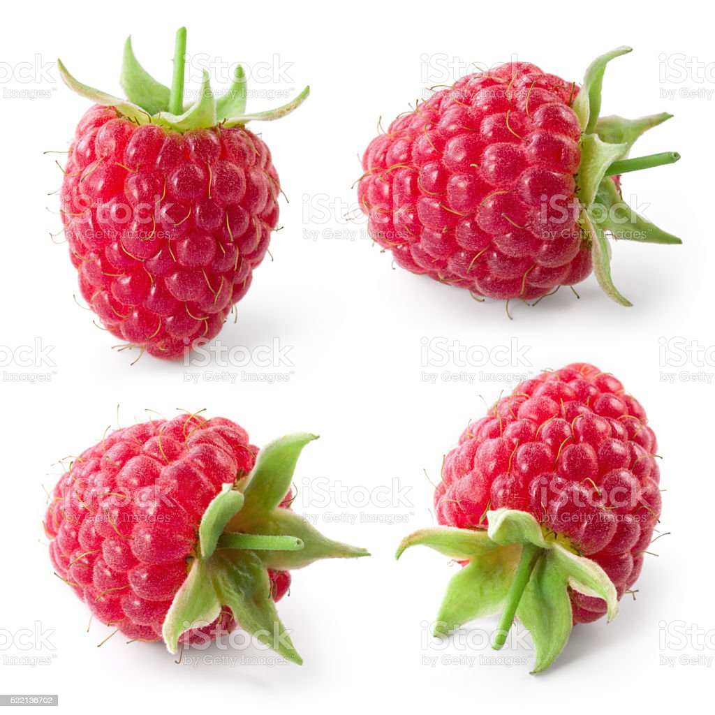 Raspberry isolated on white background. Collection. stock photo