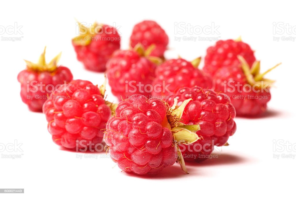 raspberry isolated on white background stock photo