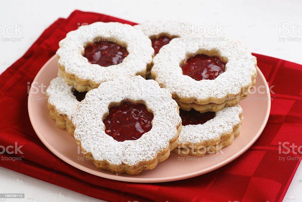Raspberry Jam Linzer Torte Cookies royalty-free stock photo