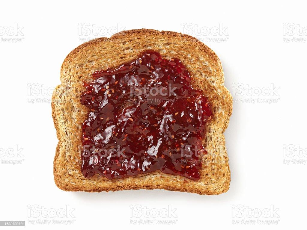 Raspberry Jam on Toast stock photo