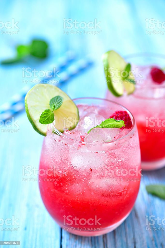 Raspberry lemonade with lime. stock photo
