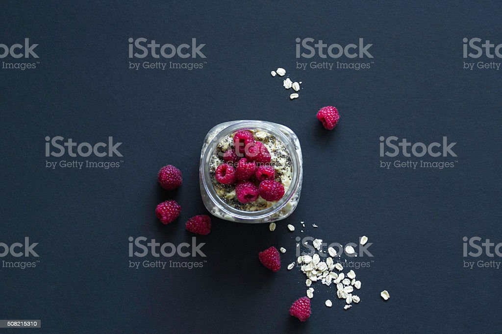 Raspberry Oatmeal With Chia Seeds stock photo