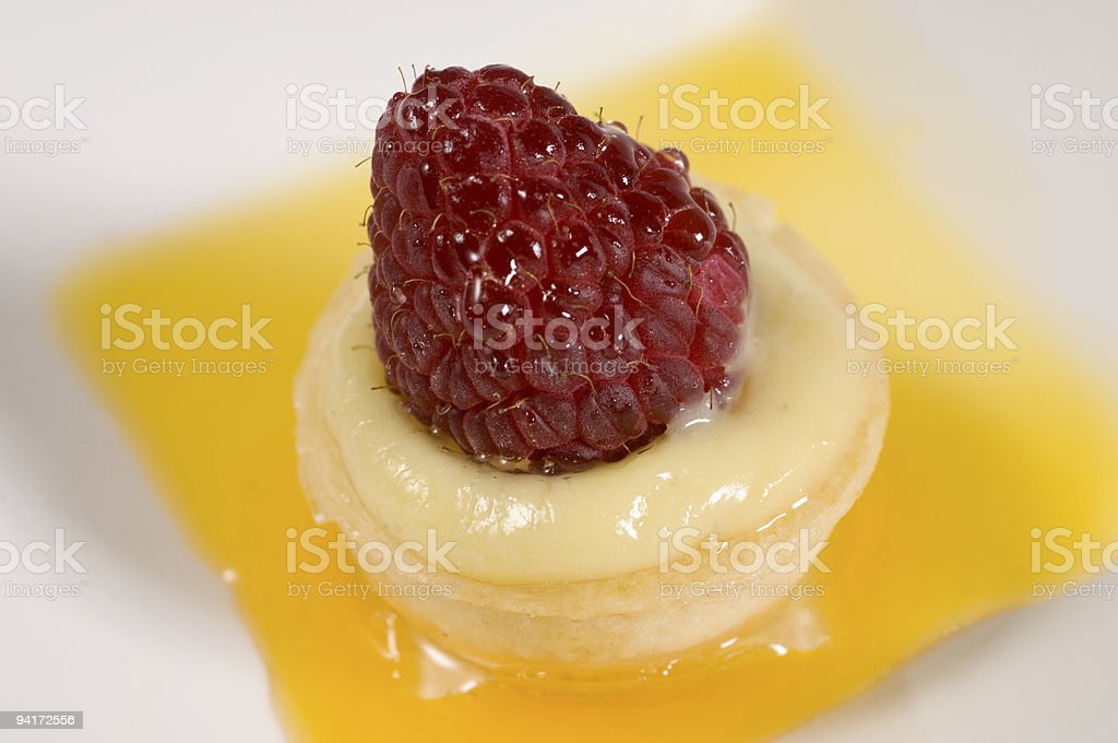raspberry over creme brulee royalty-free stock photo