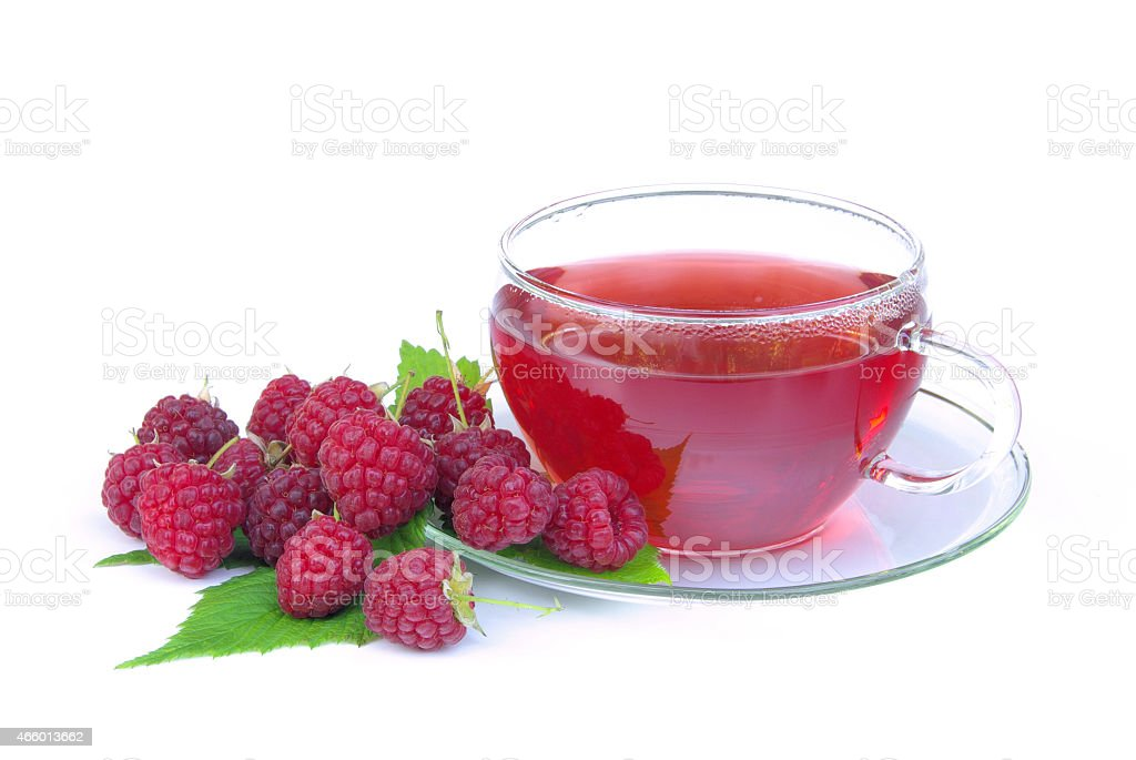 raspberry tea stock photo