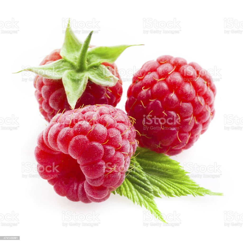 Raspberry with leaves isolated on white background stock photo