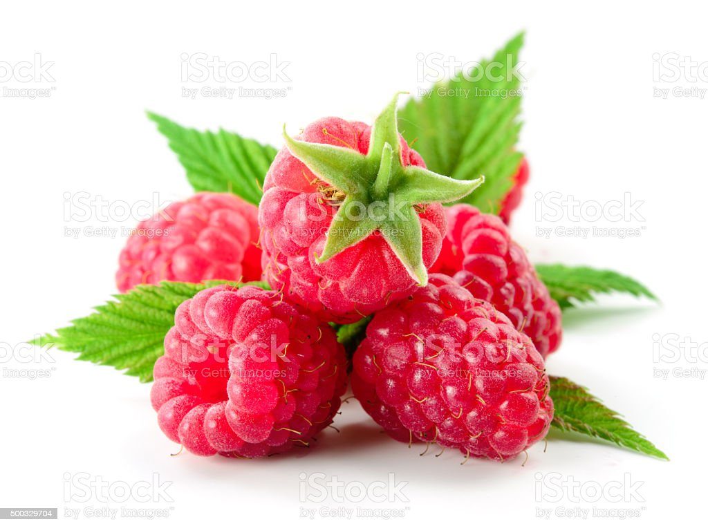 Raspberry with leaves isolated on white stock photo