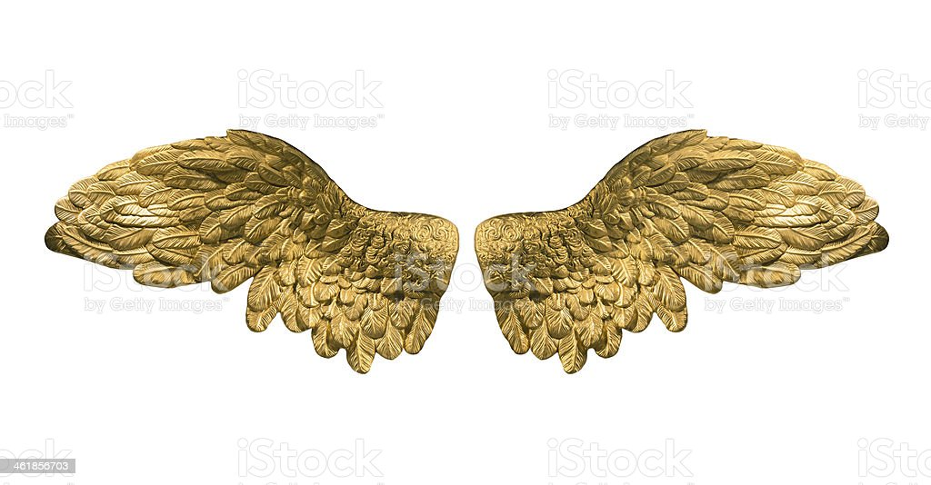 raster version of golden wings stock photo