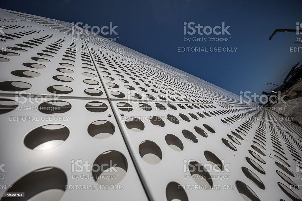 Rasterized facade on modern parking garage, Copenhagen, Denmark stock photo