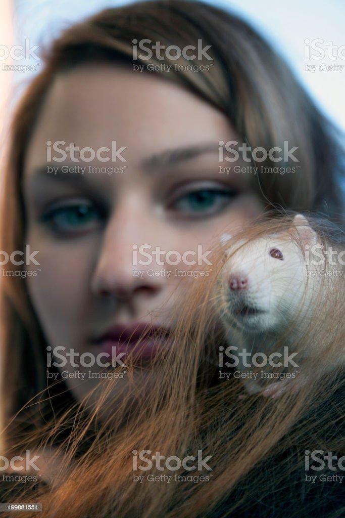 Rat lady stock photo
