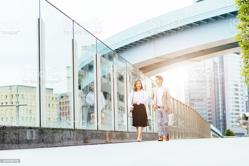 Rat race in Japanese financial district stock photo