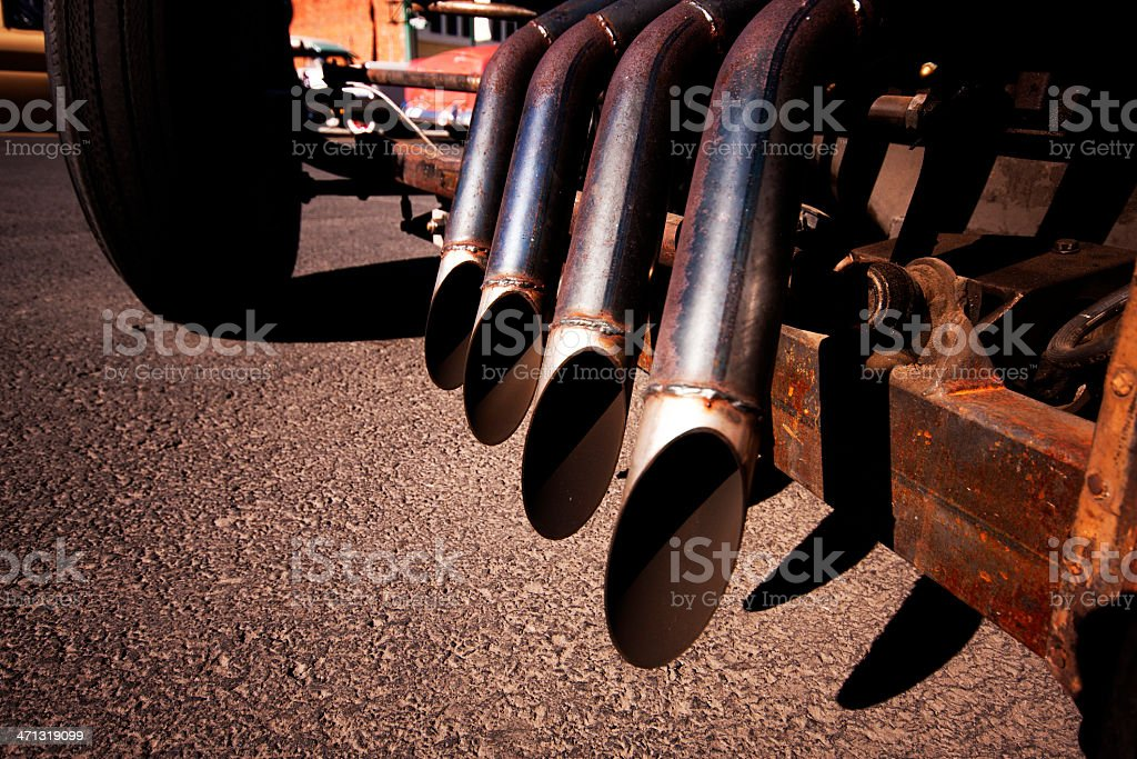 Rat Rod Exhaust Pipes royalty-free stock photo