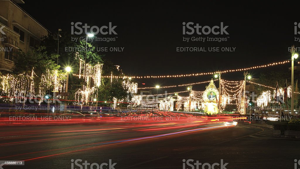 Ratchadamnoen road decorates light and pictures of King Bhumibol royalty-free stock photo