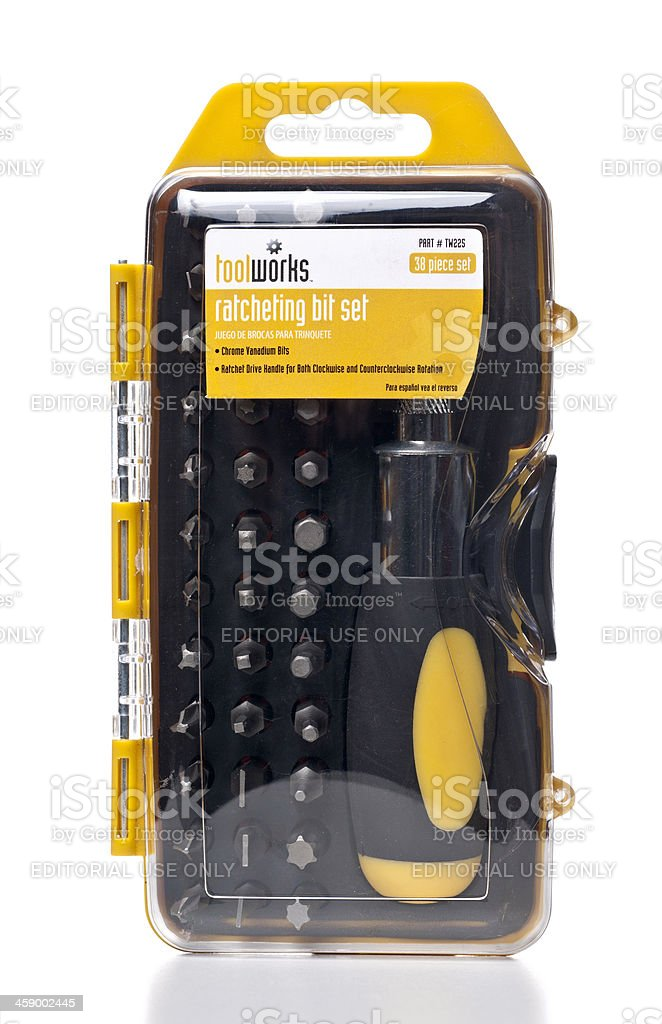 TOOLWORKS ratcheting bit set stock photo