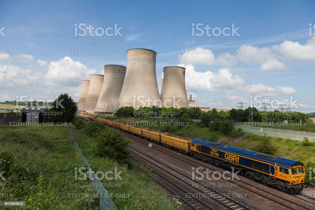 Ratcliffe-on-Soar power station. GBRF GB Railfreight Train Empty Stock stock photo