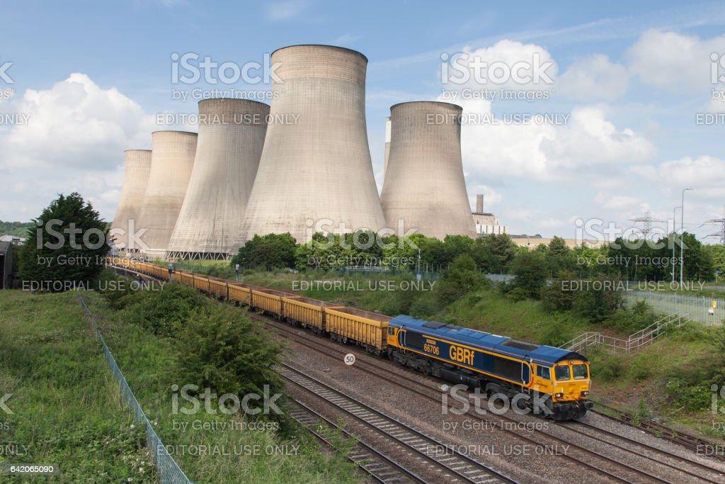 Ratcliffe-on-Soar power station, GBRF GB Railfreight Train pulling empty stock stock photo
