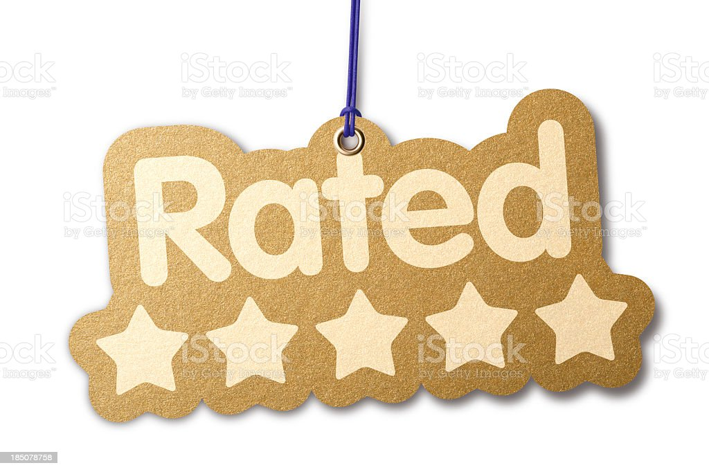 Rated 'FIVE STARS' shaped label stock photo