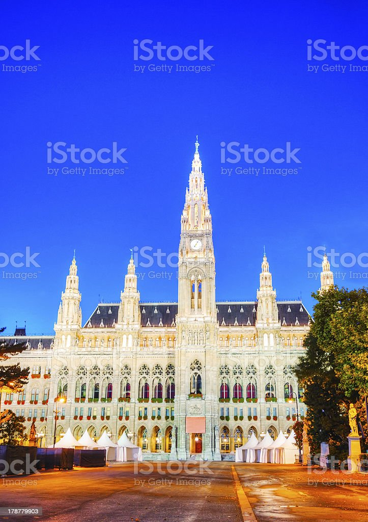 Rathaus (City hall) in Vienna royalty-free stock photo
