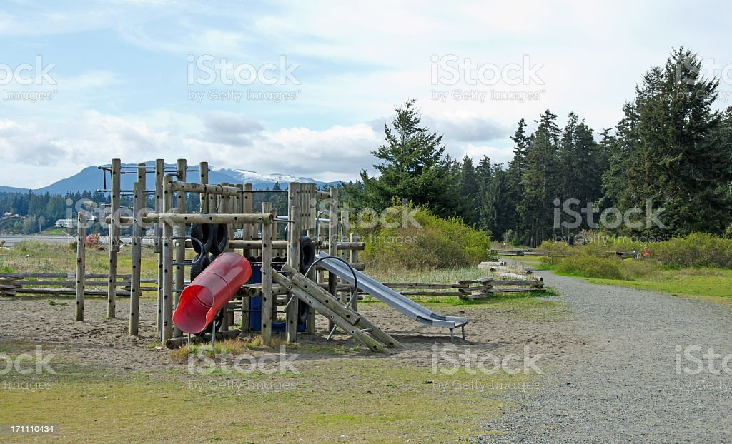 Rathtrevor Park Trail and Playground stock photo
