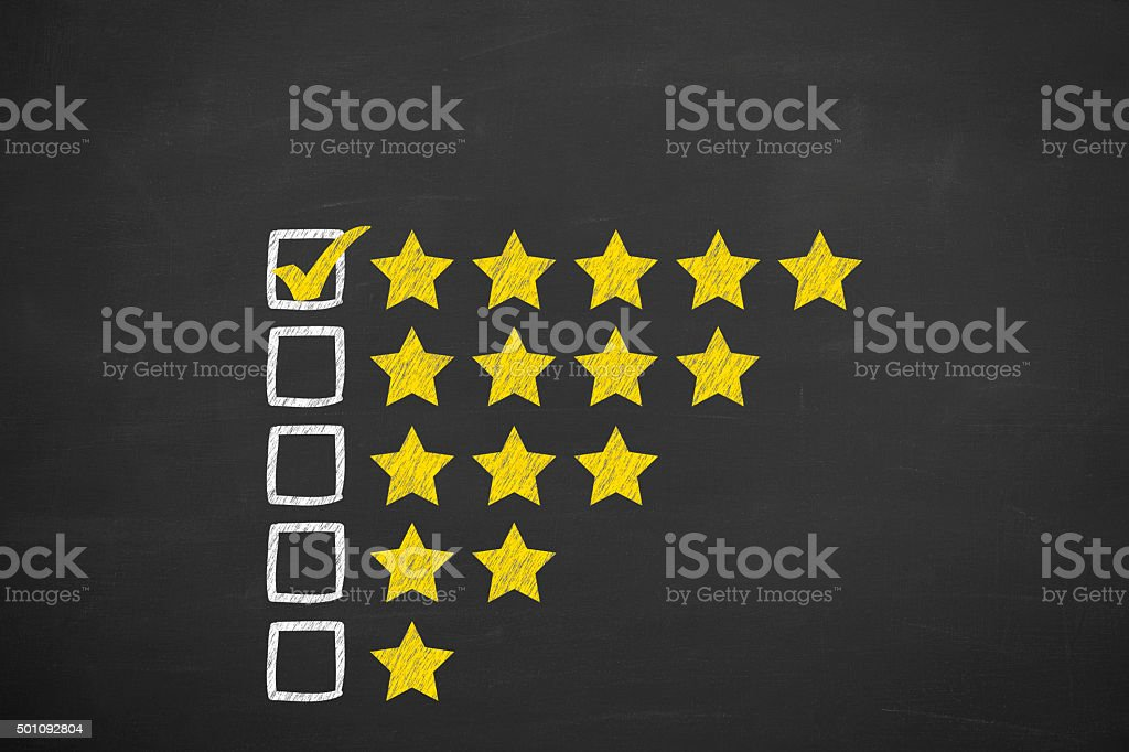 Rating Stars Concept on Blackboard stock photo