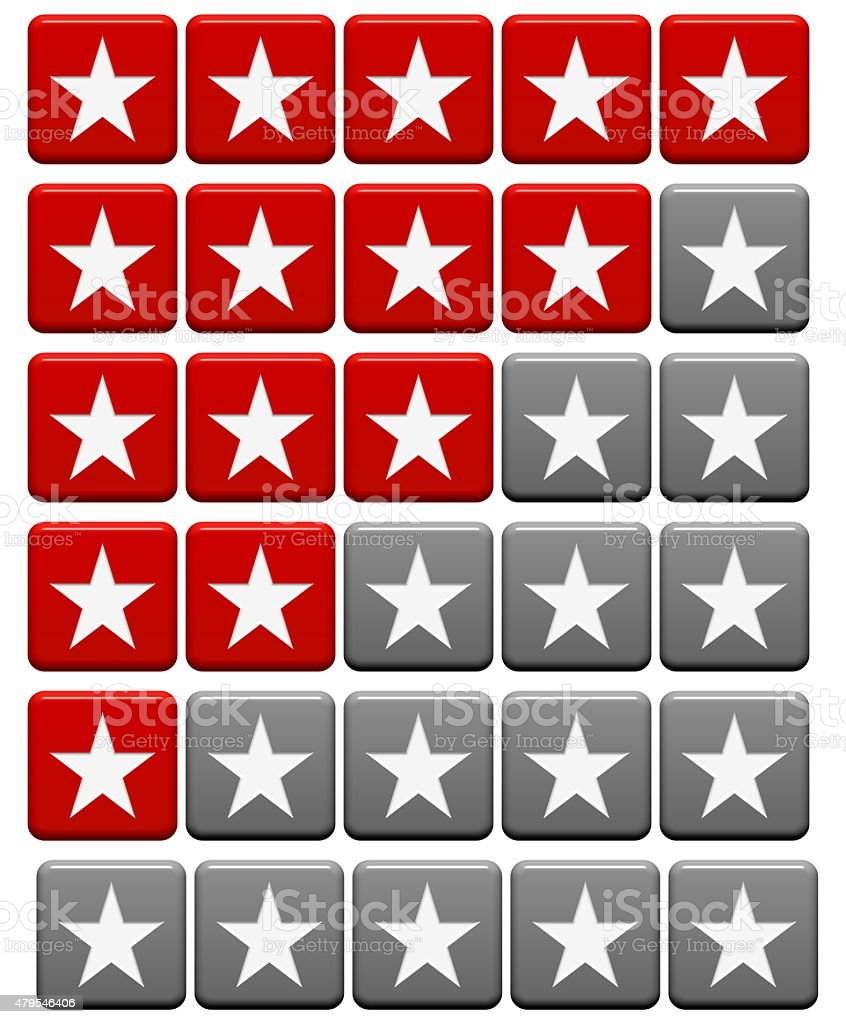 Rating System buttons red gray stock photo
