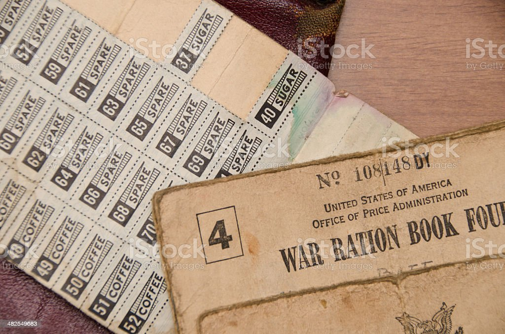 Ration Book and Stamps stock photo