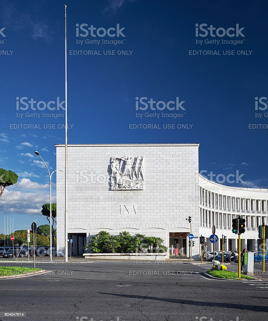 Rationalistic architecture from Eur Rome stock photo