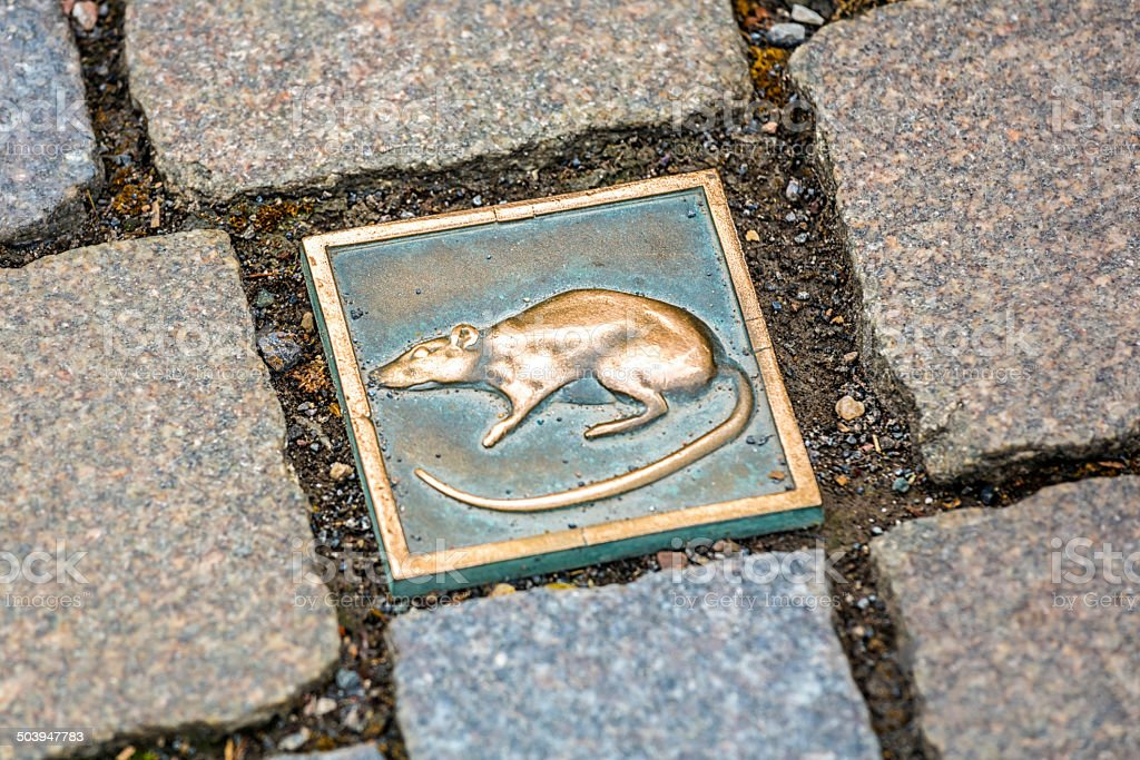 Rats motif as paving stone in Hameln (Germany) stock photo