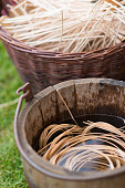 rattan cane for weave a basket in wooden bucket -basketry