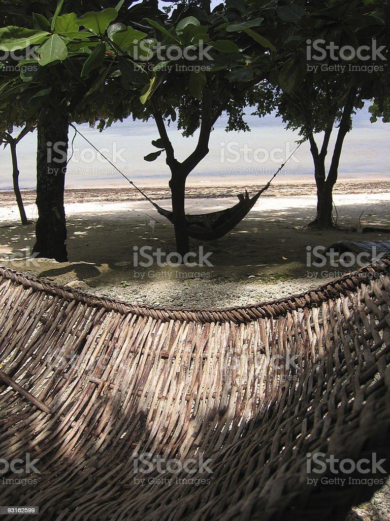 rattan hammocks on the beach royalty-free stock photo
