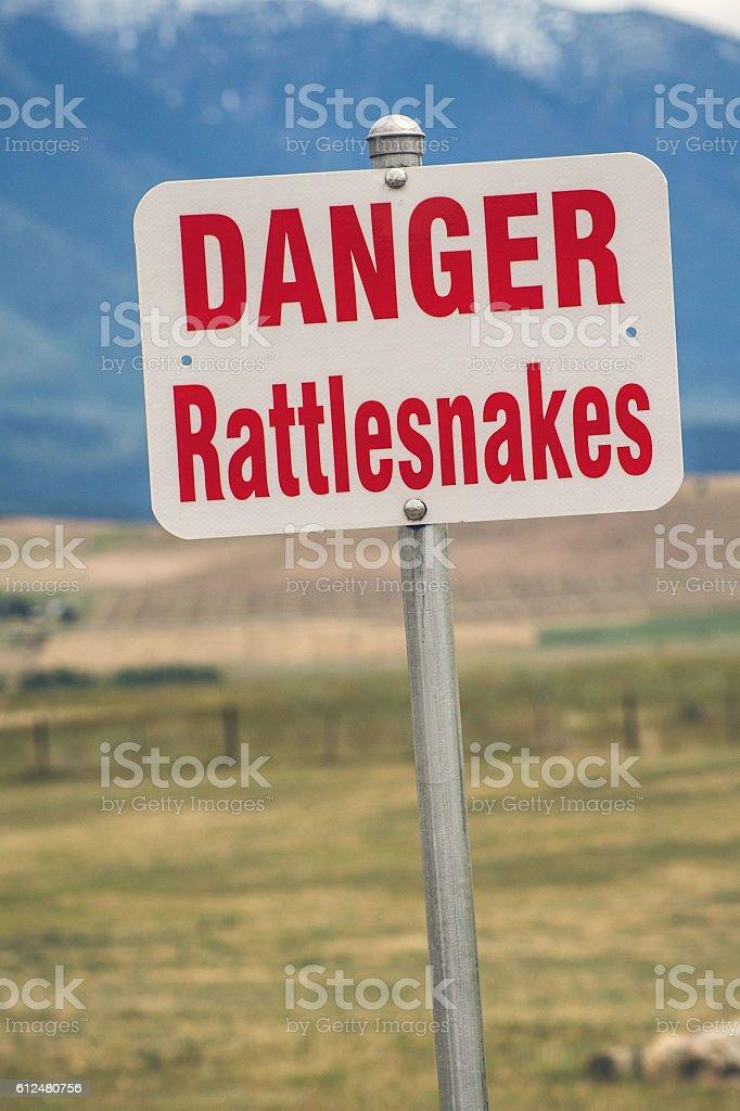 Rattlesnake warning sign in usa stock photo