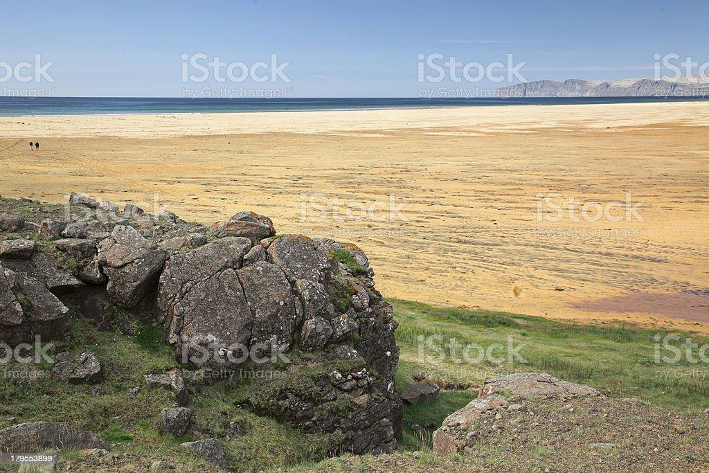 Raudasandur (Red sand) beach  in Westfjords. Iceland. royalty-free stock photo