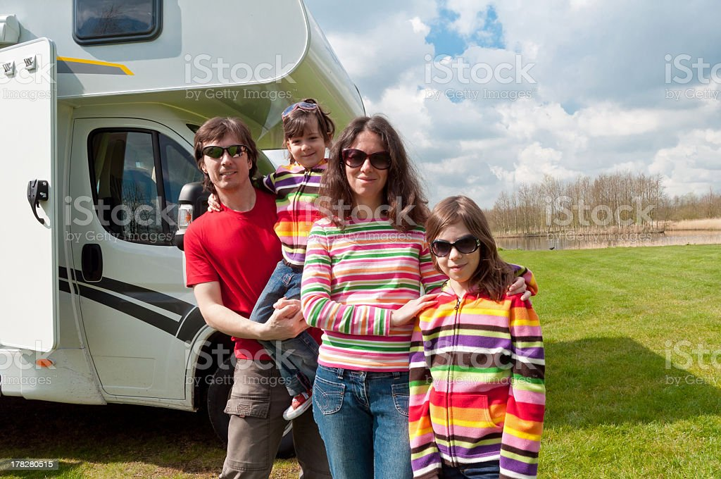 Rave camping trip to the river with the family royalty-free stock photo