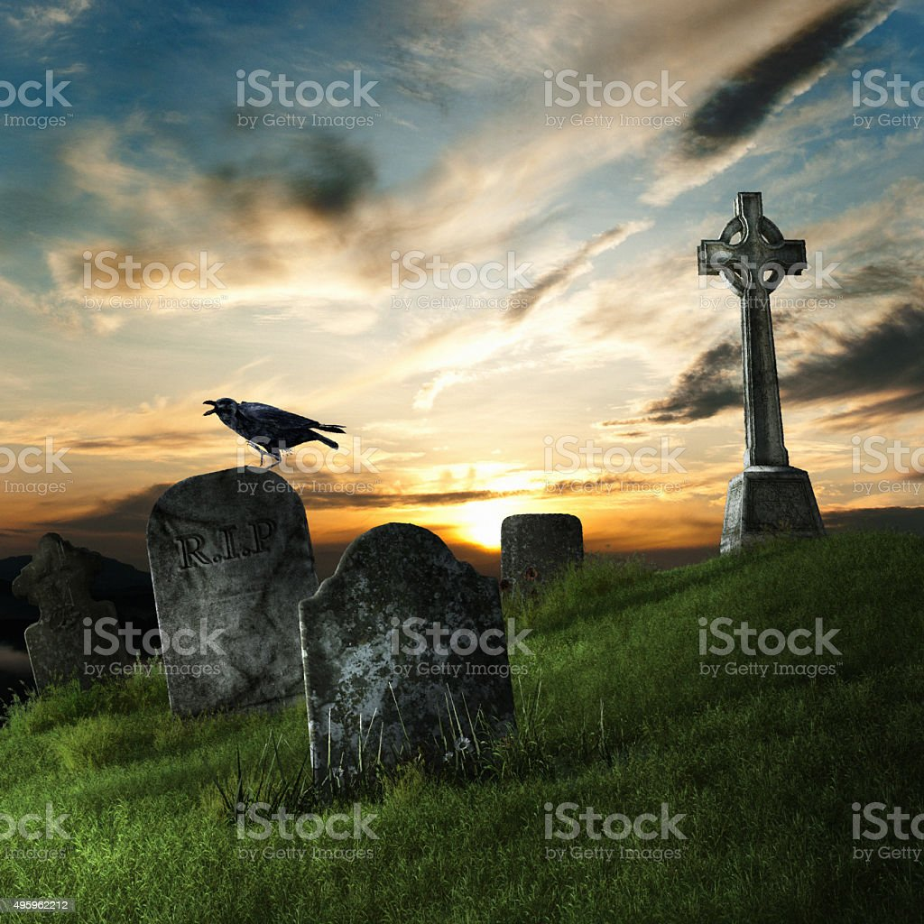 Raven and tombstone stock photo