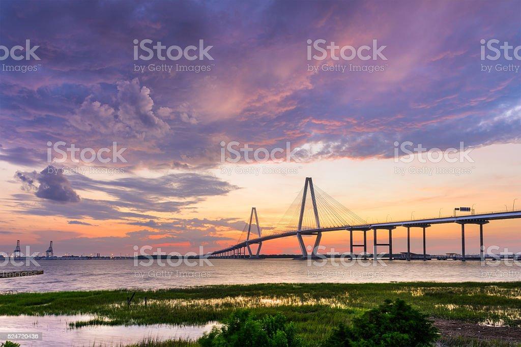 Ravenel Bridge in Charleston stock photo