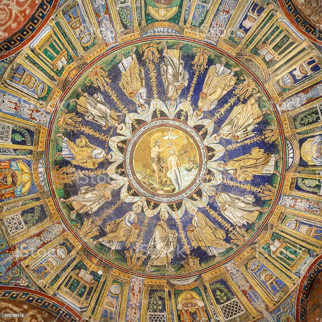 Ravenna, Baptistery of Neon - Battistero Neoniano. Italy stock photo