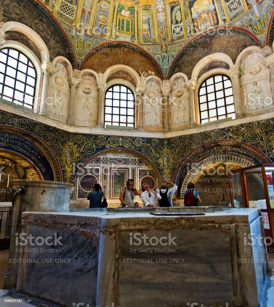 Ravenna Mosaics of the Baptistery of Neon stock photo