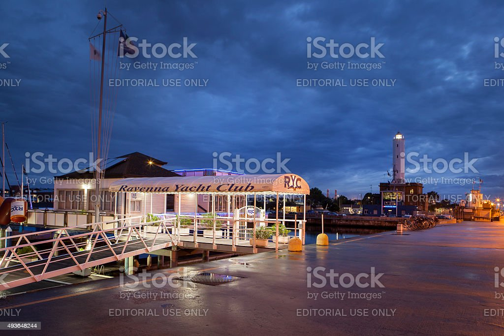 Ravenna Yacht Club at night stock photo
