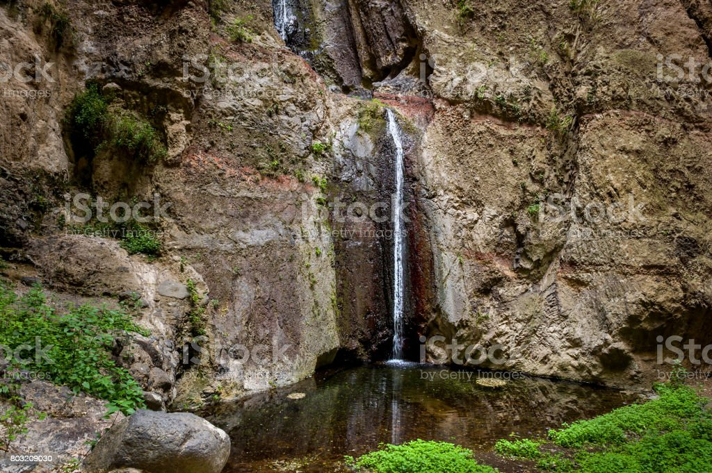 Barranco del Infierno waterfall stock photo